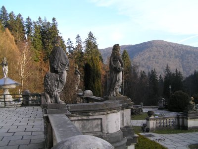 ROMANIA - terrasas of Pelesh Castle in Sinaia
