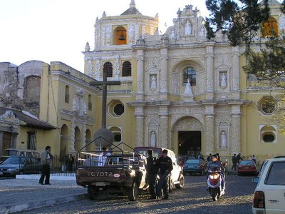 GUATEMALA - Antigua - yellow church early morning