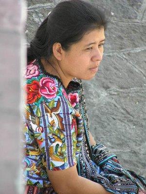 GUATEMALA - Lago Atitlan - Santiago Atitlan - Maya women in flowered shirt
