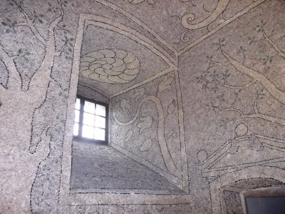 AUSTRIA_riverstones mosaics in Sala terrena of Greinburg Castle
