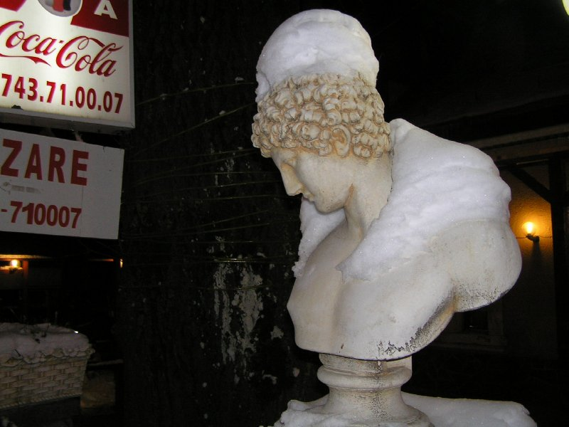 ROMANIA (Sinaia) - head in snow hat and collar