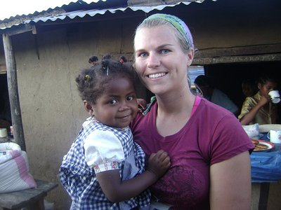 Alexis and a new friend in Madagascar