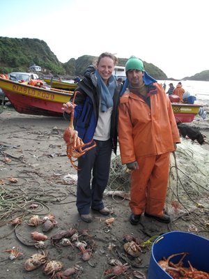 Naomi has a King Crab thrown at her in Chiloe, Chile