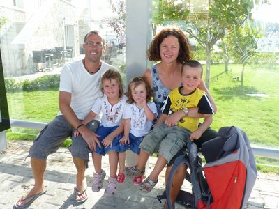 The Watson family waiting for a dolmus in Cesme