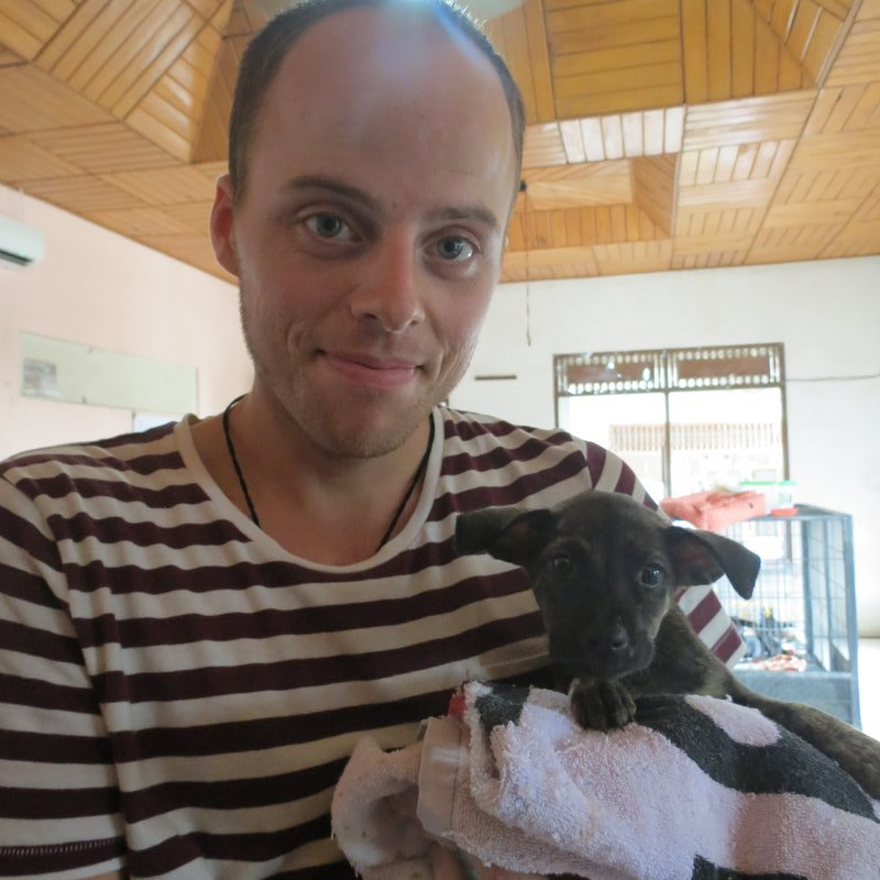 Dan and new love Bella at Bali Animal Welfare Association
