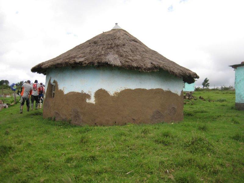 outside the hut