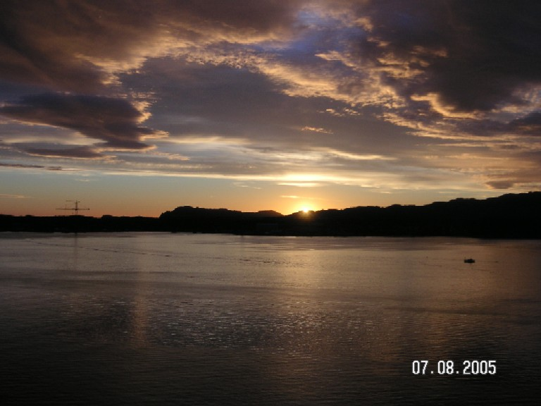 Sunset over stord harbour