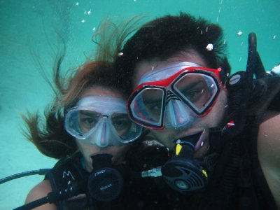 Cindy and Juan on an underwater <br />date