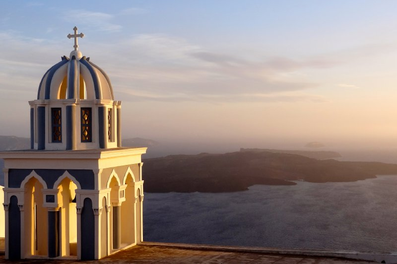 Sunset lighting on Santorini