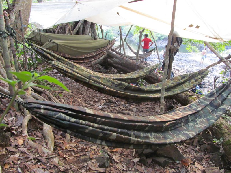 Hammocks at jungle camp