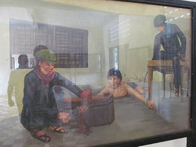 Tuol Sleng Genocide Museum - Torture depiction painted by one of the seven survivors
