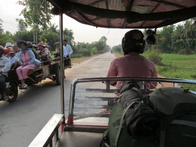 Crammed vehicles are a normal site in Cambodia