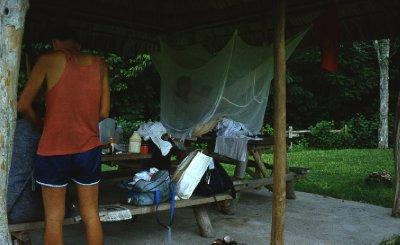 I sling my hammock in Tikal.