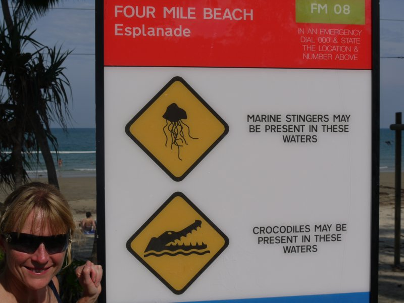 Beach sign at Port Douglas