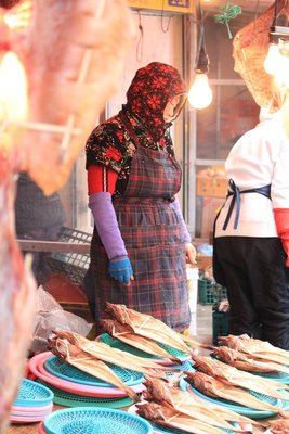 Old lady Busan fish market