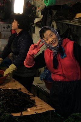 Seaweed lady, fish market