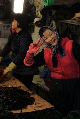 Seaweed lady, fish market