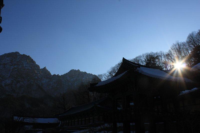 Temple sun set
