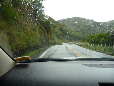 serpentine roads in rain