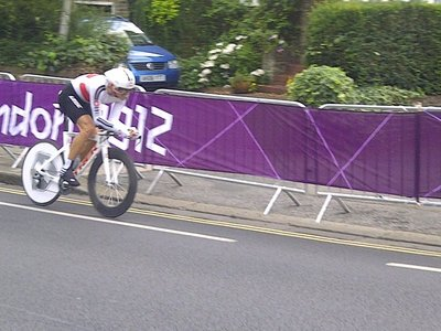 Cancellara at the road race. Wiggins smashed it!