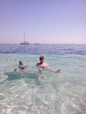 Dara and I relaxing in the ocean in Puerto Morelos