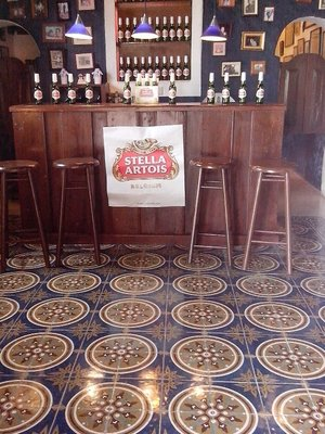 The bar in the hacienda...got to love the pasta tile floor