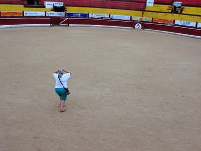 Andrea horsing around in the bull ring