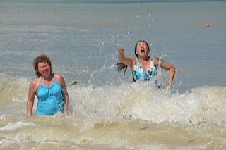 Cathy and I enjoying the waves...sort of...