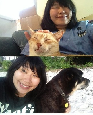 Meet Orlando the cat, Mama the dog, and Melissa the intern.