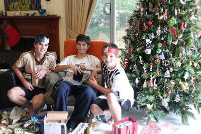 The boys at home on Christmas morning