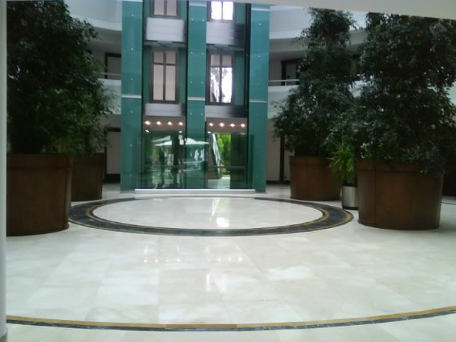 The lobby of the hotel our housing