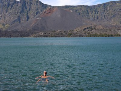 Paul swimming in volcano lake