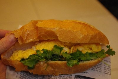 Omelette in a baguette...with coriander.