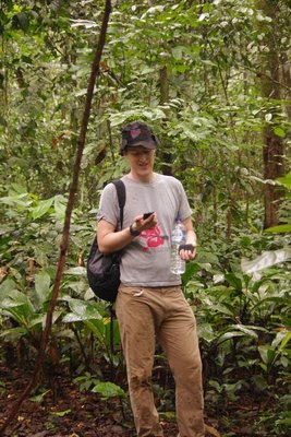 Justin checking the Tottenham score...in the middle of the rainforest
