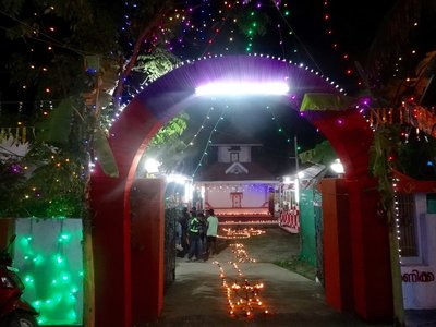 Temple entrance at night