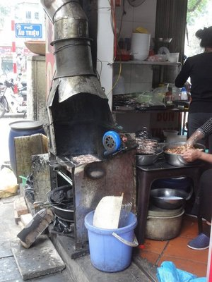 Stove for a street restaurant