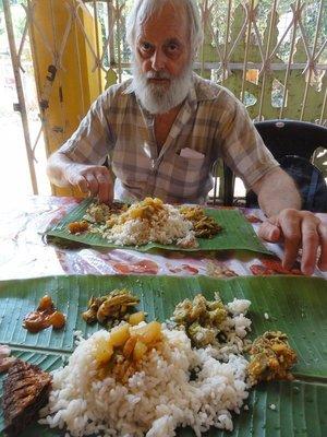 Banana leaf curry meal