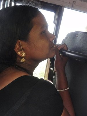 Amazing gold earrings on the bus
