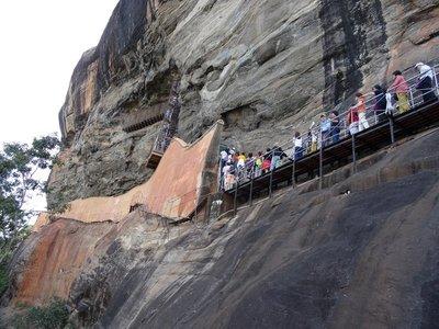 Line of people climbing
