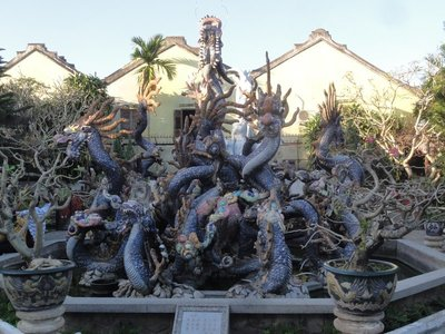 One of the many dragon sculptures
