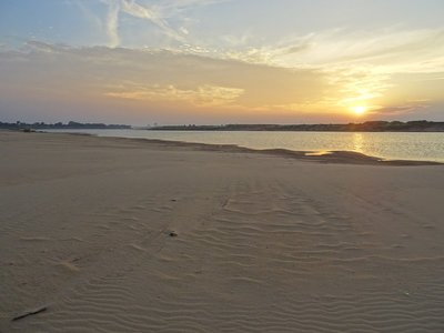 Sunset showing the beautiful sand with the skyline of Kampong Cham in the background