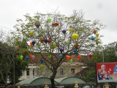 Some of the many silk lanterns used as street decorations