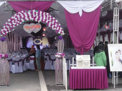 Tent set up for wedding reception