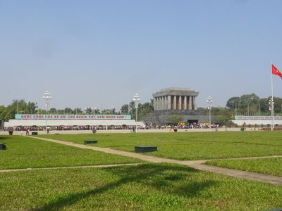 Ho Chi Minh's Mausoleum and the long line of people