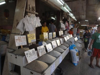 Different kinds of rice for sale in the market