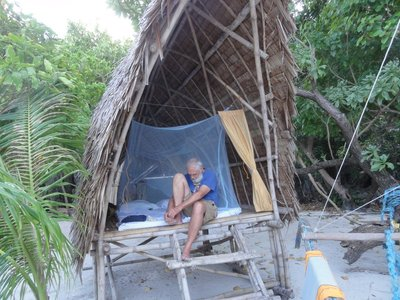 Don sitting in our hut