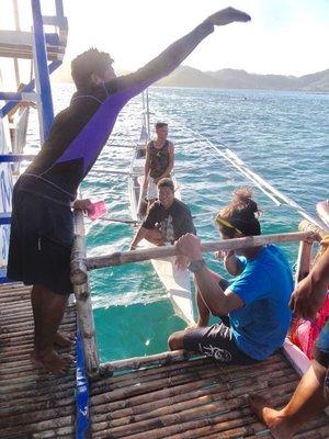 Buying fish from local fishermen