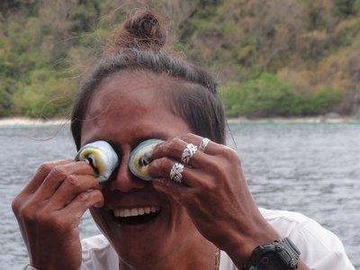 Oli playing with the cuttlefish eyes