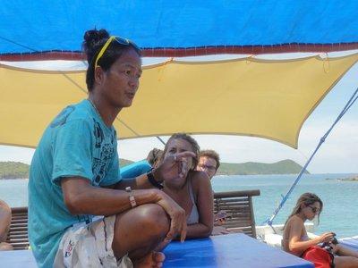 Oli telling us the story of the resort