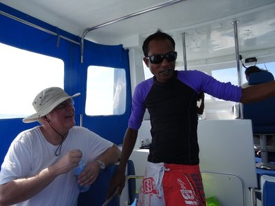 Nish and Eric on the whale shark trip